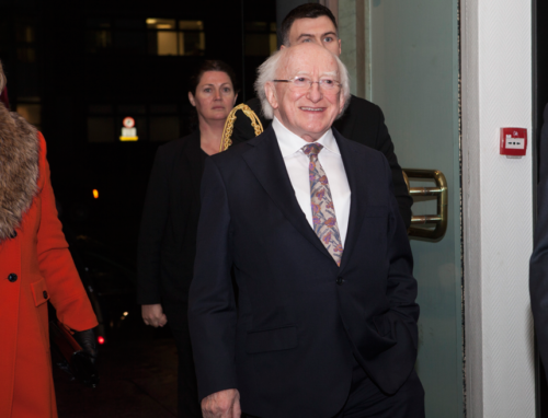 President of Ireland Michael D. Higgins arriving at National Concert Hall Dublin to see The Three Tenors Ireland-In Concert